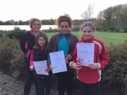Coaching co-ordinator, Jo Mayfield with Eleanor Parkinson (Willesley Park), Francesca Brimm (Glen Gorse) and Eleanor Bailey (Kirby Muxloe)