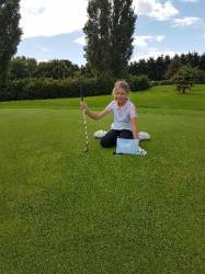 The winning shot into the hole on the 8th