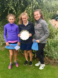 Eleanor (l) runner up Alice Watson Trophy  with Winner Laura and semi finalist Victoria Mayfield (r)