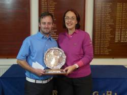 Baxter Trophy winners John Fairbrother and Rachel East from Cosby Golf Club