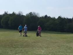 Caz Parkes-Walley (leading qualifier) and Helen Lowe set off down the first  fairway in the semi final.