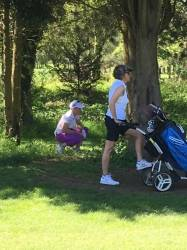 Cath Arter found a shady spot after a slightly errant tee shot but recovered brilliantly