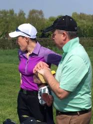 Cath with caddy, Phil Askew