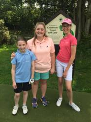 Edie & Holly with Captain on the tee!