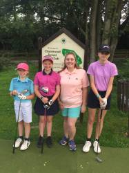 Henrietta, Lucy and Megan about to tee off!