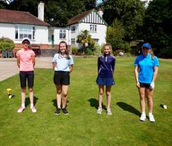 Chloe, Vicky, Grace & Gee-Gee on the 1st tee!!