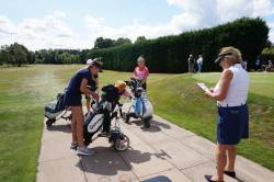 Lady Captain Jenny sees Eleanor, Emily W and Lila off the first tee!!